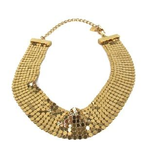 Givenchy 1970's Gold Mesh Choker Vintage Necklace